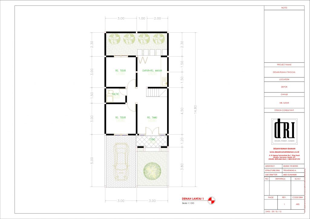 Desain Rumah Atap Taman Terbuka di Depok