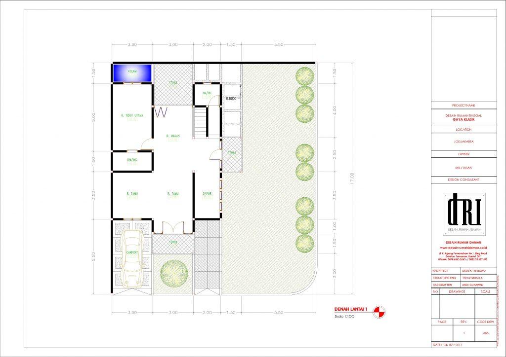 Desain dan Denah Rumah Hook Klasik 2 Lantai di Bantul Yogjakarta