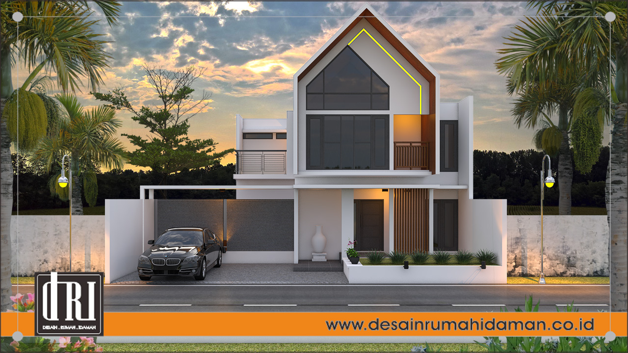 fasad depan desain rumah industrial tanpa pagar, Jogjakarta