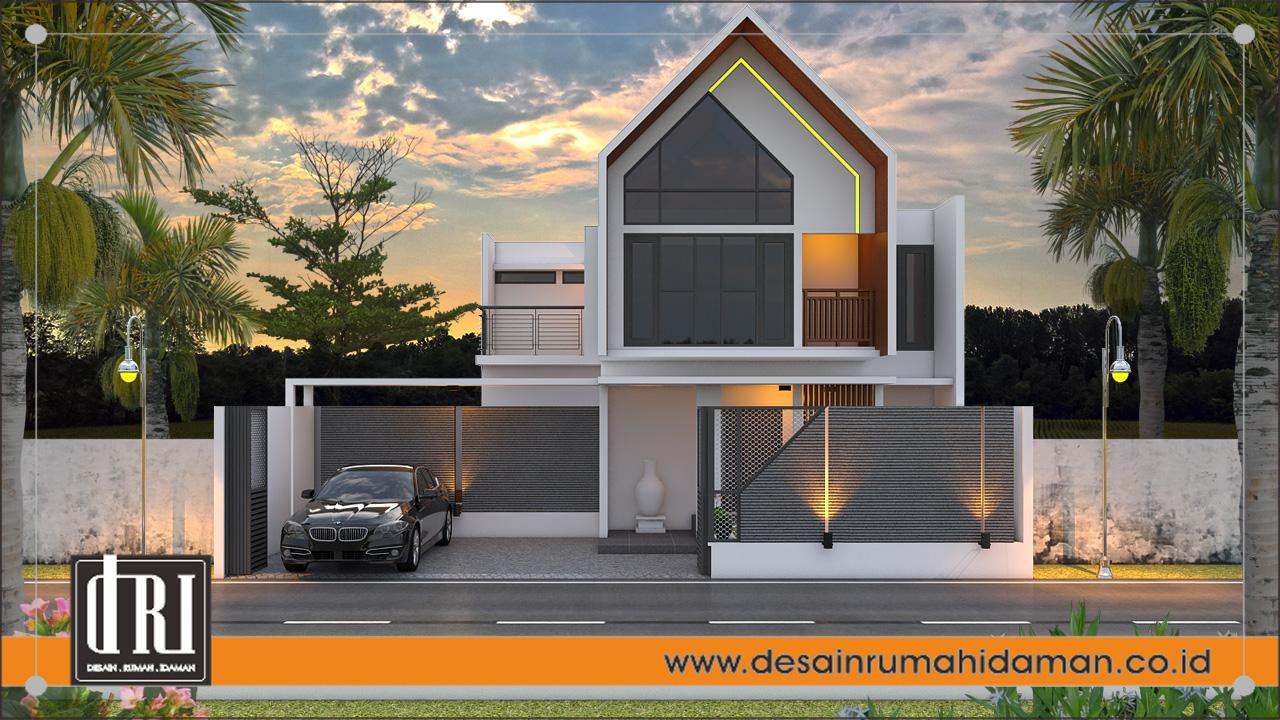 tampak depan desain rumah industrial include pagar, Jogjakarta