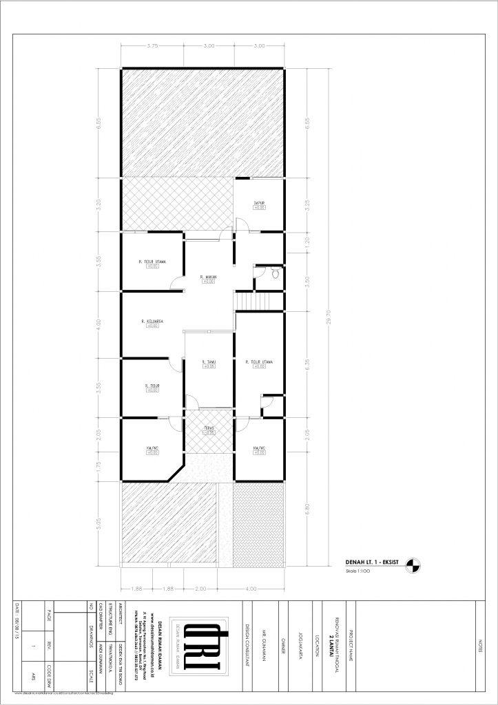 denah eksisting lantai 1 rumah yang direnovasi