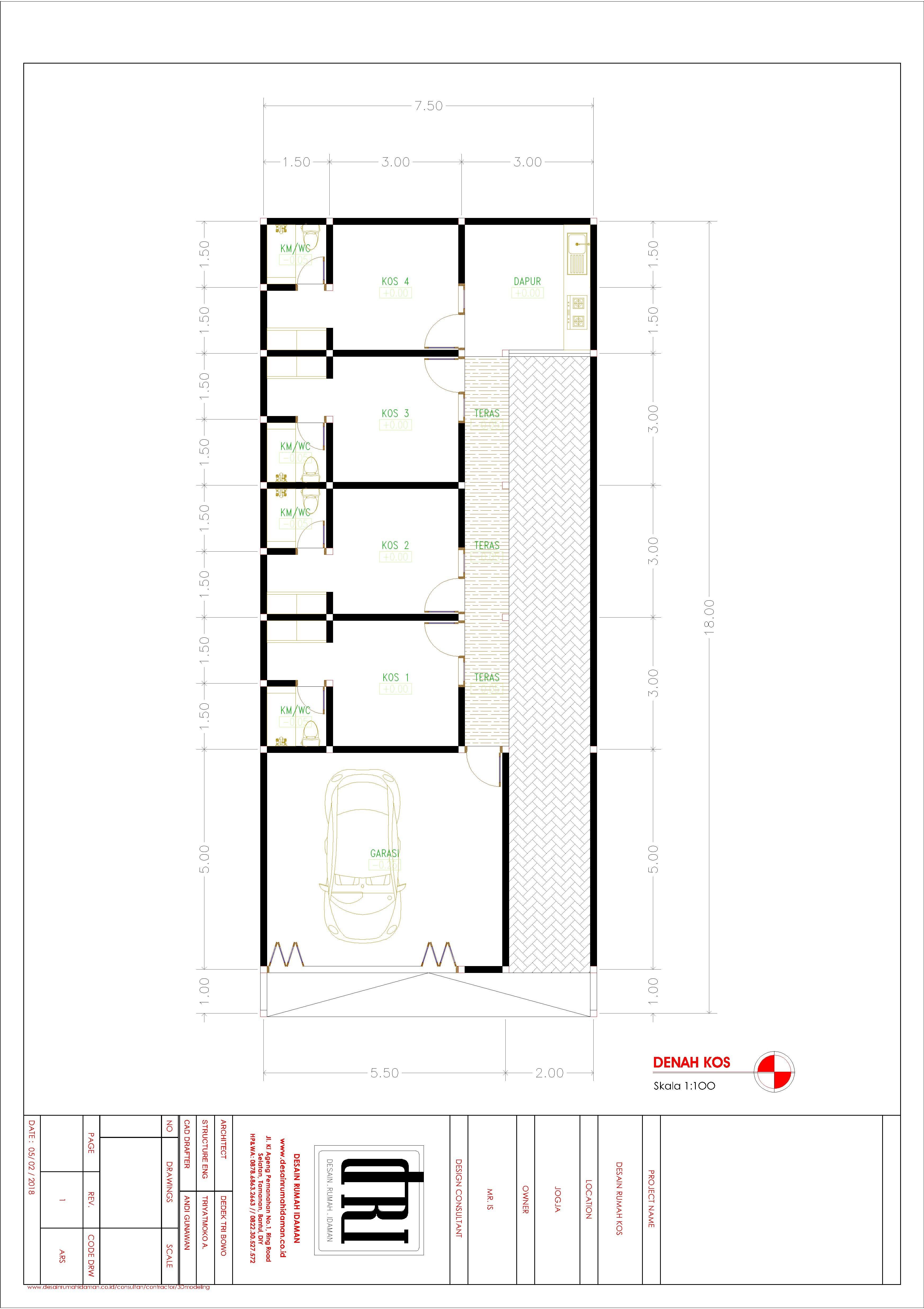 Desain Rumah Kos Mr Iswahyudi Jogjakarta Desain Rumah Idaman